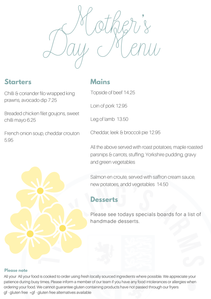 Mother's Day menu at The King's Arms, Shouldham