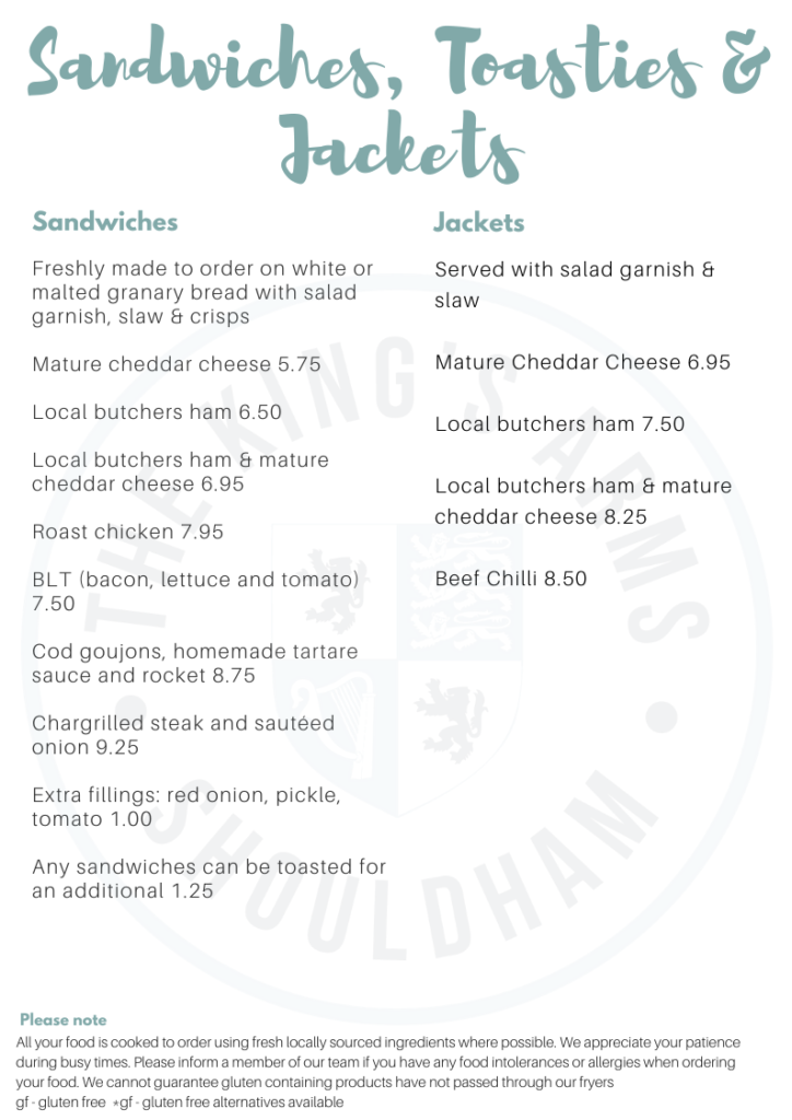 King's Arms, Shouldham. Sandwiches and Jacket Potato Lunchtime Menu