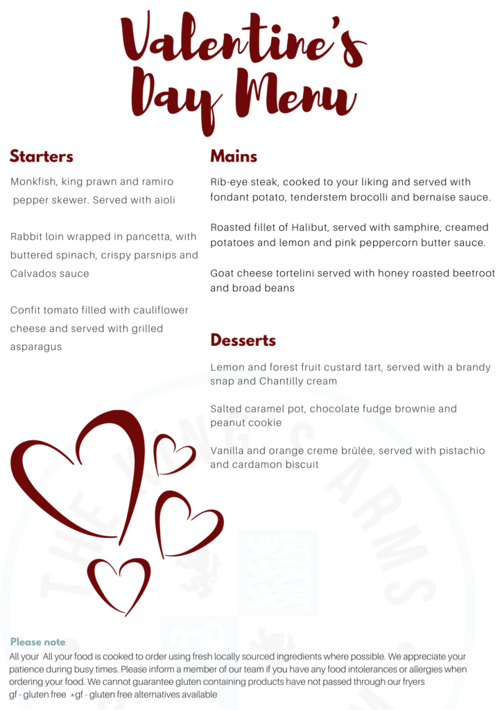 Valentine's day Menu at the King's Arms, Shouldham